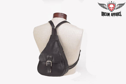 Women Small Black Backpack With Large Buckle Pocket