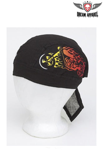 Cotton Skull Cap w/ Motorcycle in Flames Design