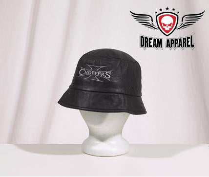Leather Cap With Choppers Design