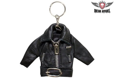 Black Jacket Leather Key Chain