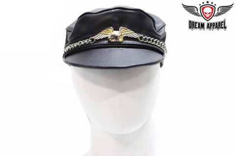 Leather Cap with Chain & Eagle
