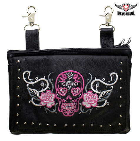 Pink & White Sugar Skull Naked Cowhide Leather Gun Holster Belt Bag with Studs
