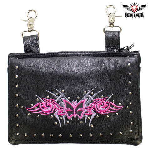 Studded Naked Cowhide Leather Gun Holster Belt Bag with Pink & Silver Butterfly