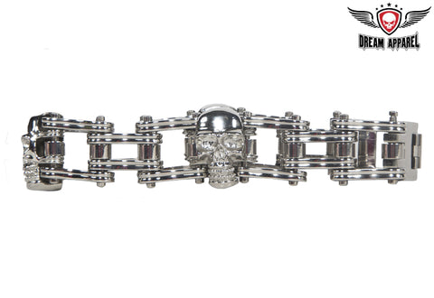 Stainless Steel Biker Bracelet With 3 Medium Skulls