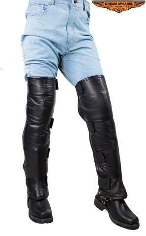 Men's Black Leather Wool Lined Leggings