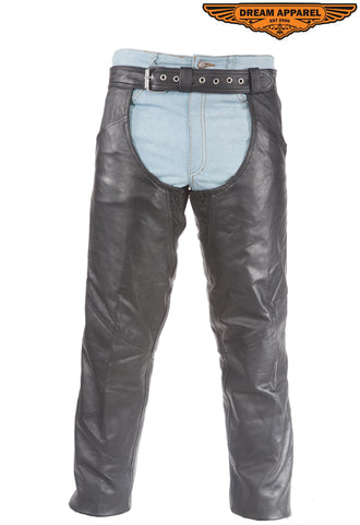 Leather Chaps With Gathered Fitting