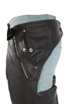 Motorcycle Leather Chaps With Leather Lacing