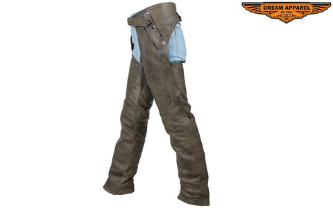 Mens Distressed Brown Leather Motorcycle Chaps