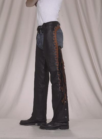 Leather Chaps With Studs, Fringe & Mesh Lining