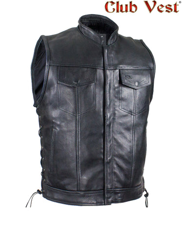 Men's Black Liner Naked Cowhide Gun Pocket With Zipper And Snap Vest by Club Vest®