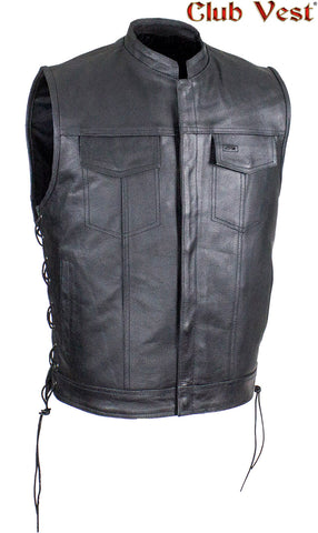 Men's Black Liner Split Leather Gun Pocket With Zipper And Snap Vest by Club Vest®