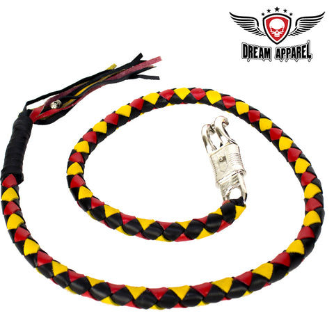 "50"" Inch Long Black, Yellow And Red Get Back Whip"