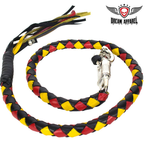 "42"" Inch Long Hand-Braided Get back Whip - Black/Yellow/Red"