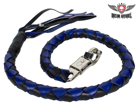 "42"" X 3"" Hand-braided Get Back Whip - Black/Blue"