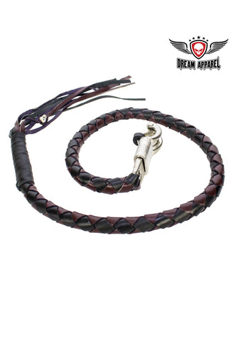 "42"" Inch Long x 1"" Inch Thick Naked Leather Hand-Braided Get back Whip - Black/Dark Brown"