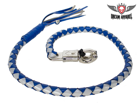 Blue and Silver Hand-Braided Leather Get Back Whip