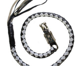 Black and Silver Hand-Braided Leather Get Back Whip