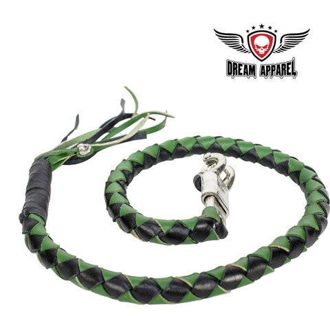 "42"" X 2"" Hand-braided Naked Leather Get Back Whip - Black/Green"
