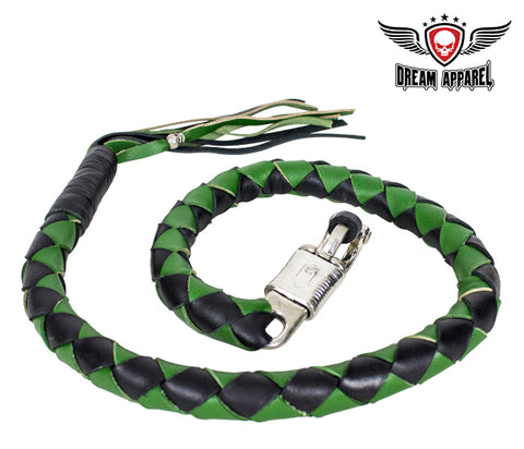 "42"" X 3"" Hand-braided Naked Cowhidwe Leather Get Back Whip - Black/Green"