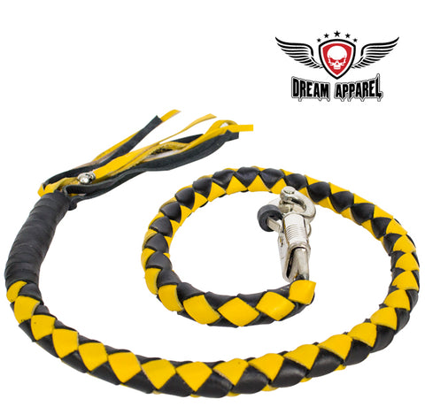 "42"" X 2"" Hand-braided Naked Cowhide Leather Get Back Whip - Black/Yellow"
