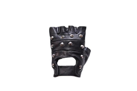 Studded Motorcycle Fingerless Gloves