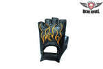 Biker Fingerless Gloves With Orange Flames