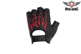 Motorcycle Red Flame Fingerless Gloves