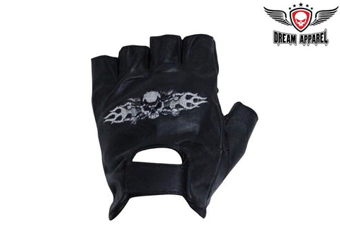 Motorcycle Fingerless Gloves With Skull & Crossbones in Flames