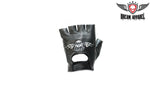 Motorcycle Fingerless Gloves With Eagle In Flames