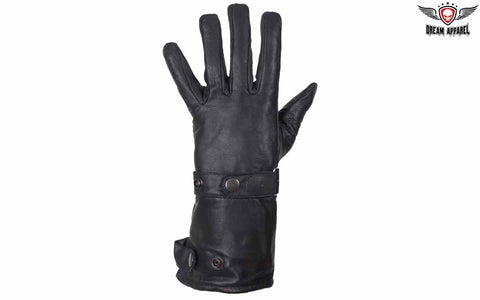 Long Leather Summer Motorcycle Glove