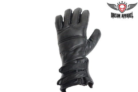 Leather Motorcycle Glove With Velcro & Lining