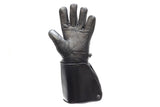 Black Leather Motorcycle Gloves with Lined Gauntlets