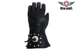Motorcycle Gauntlet Glove With Concho & Studs