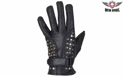 Womens Full Finger Motorcycle Gloves With Studs