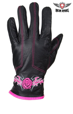 Pink-Rose Graphic Leather Gloves
