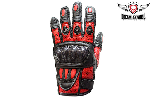 Mens Padded Red Racing Gloves