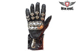 Men's Leather Racing Gloves With metal Knuckle Protector