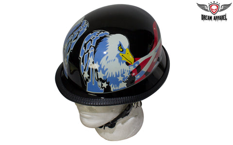 German Style Novelty Motorcycle Helmet W/ USA flag & Double Eagle