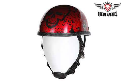 Shiny Burgundy Eagle Style Novelty Motorcycle Helmet W/ Boneyard Graphic