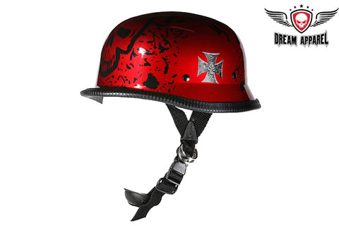 Shiny Burgundy German Style Novelty Motorcycle Helmet W/ Boneyard Graphic