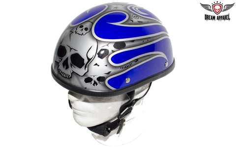 Shiny Blue Novelty Helmet with Silver Flames
