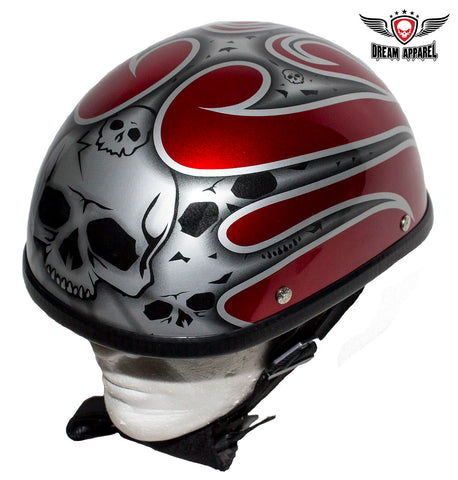 Shiny Red Novelty Helmet with Silver Flames
