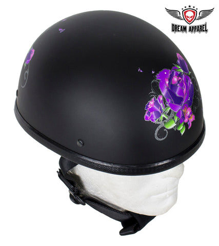 Womens Flat Black Novelty Motorcycle Helmet With Purple Rose Design