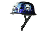 German Novelty Helmet With Skull Graveyard With Chopper Cross