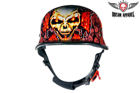Orange German Novelty Helmet with Skull Graveyard & Chopper Cross