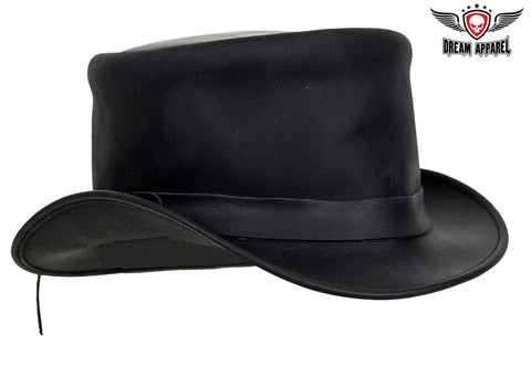 Black Leather Deadman Top Hat