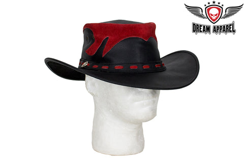Black & Red Leather Gambler Hat
