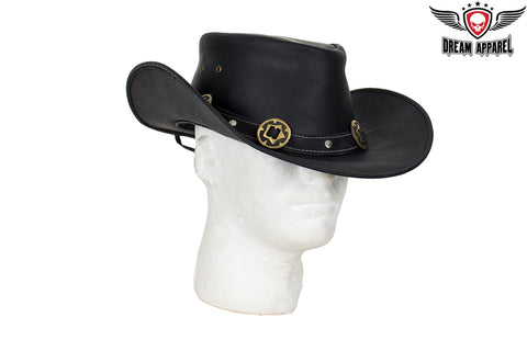 Genuine Black Leather Gambler Hat with Conchos