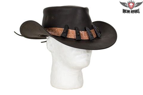Genuine Black Leather Alligator Hat