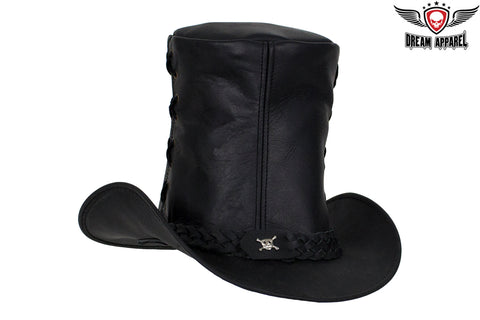 Genuine Black Leather Top Hat with Chrome Skull
